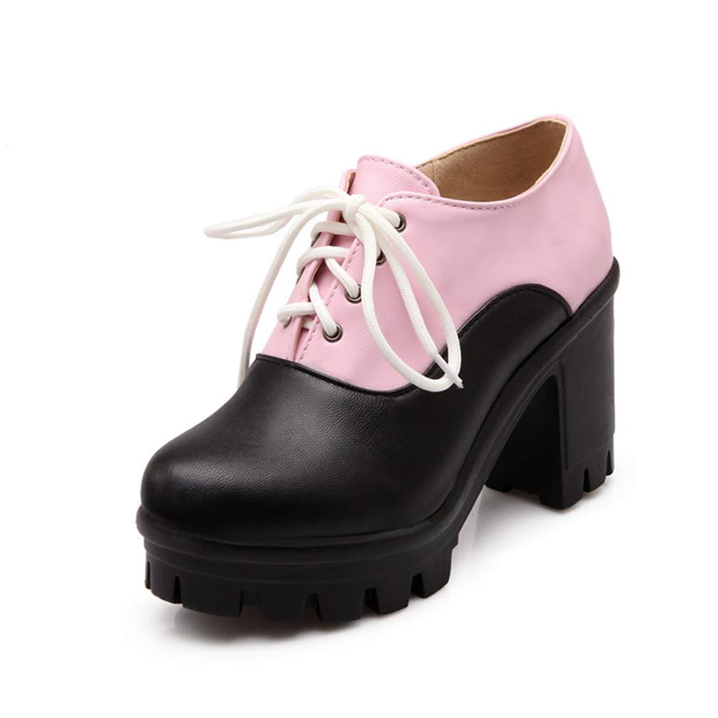 Pink-black Elsa Wilcox Women Lace Up Round Toe Two Tone Chunky High Heel Vintage Dress Oxford shoes Platform Oxford Pumps