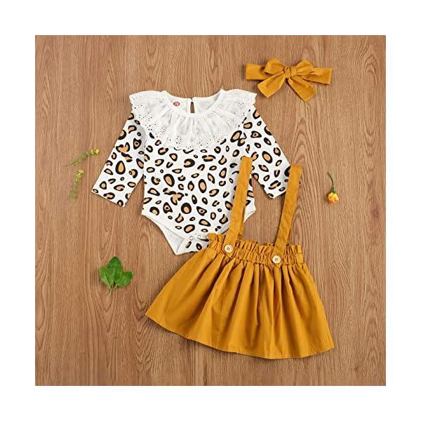 Carolilly 3 Pezzi Completo Bambina Stampa Leopardato Pagliccetto a Manica Lunga in Pizzo+Vestito Bambina Principessa… 2