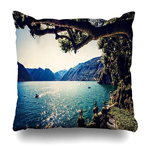 DIYCow Throw Pillow Covers Ride Blue Italy Lake Como On Boat Balbianello Nature Lugano Villa Italian Summer Design Mountain Home Decor Pillowcase Square Size 18 x 18 Inches Zippered Cushion Case (Cushions Bellagio)