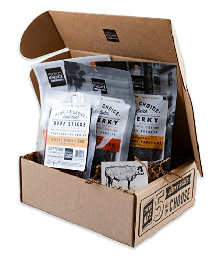 People's Choice Beef Jerky - Jerky Box - Sweet Tooth - Meat Snack Sampler Gift Basket for Guys - 4 (Sweet Tooth Sampler)