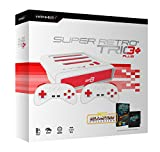 Retro Bit Super Retro TRIO HD Plus 720P 3 in 1 System (2018) with Data East All Star Collection Cartridge Bundle for NES, SNES, and Sega Genesis Original Game Cartridges - Red/White