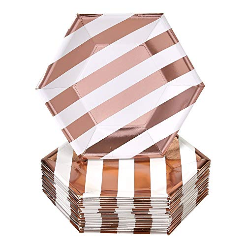 (DISPOSABLE SIDE PLATES | 24 pc | made of Heavyweight Paper Materials | Stripe - Rose Gold | 7.5