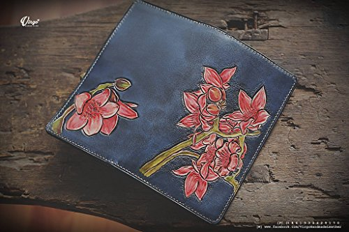 Gladiola long hand tooled wallet for women | Personalized Vintage vegetable tanned leather handmade wallet by Virgo Handmade Leather