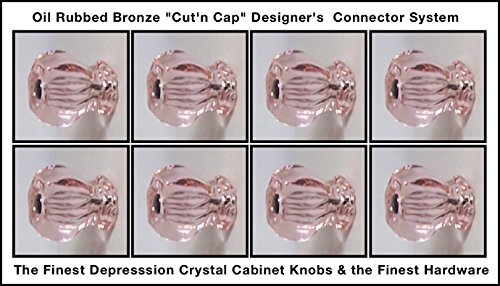 8 Pack of 1920's Finest Hexagonal Depression Glass Cabinet Knobs, Oil Rubbed Bronze Cut'n Cap Installation System Medium size 1-1/4 X 1-1/4 inch at the widest point (PINK)