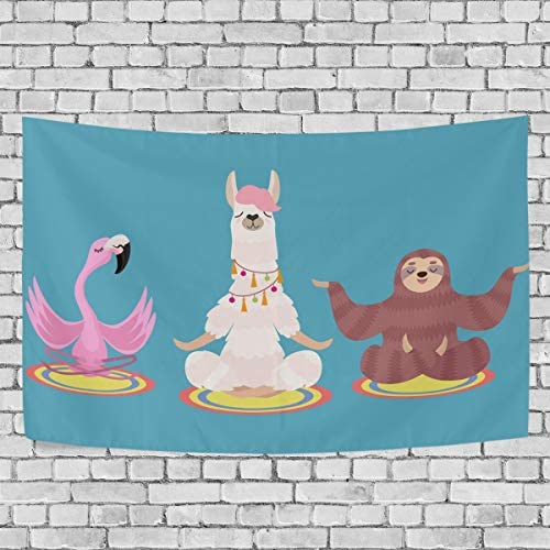 ALAZA Tapestry Wall Hanging Funny Yoga Sloth Llama and Flamingo Art Wall Tapestry for Living Room Bedroom Dorm Home Decor 90×60 Inches