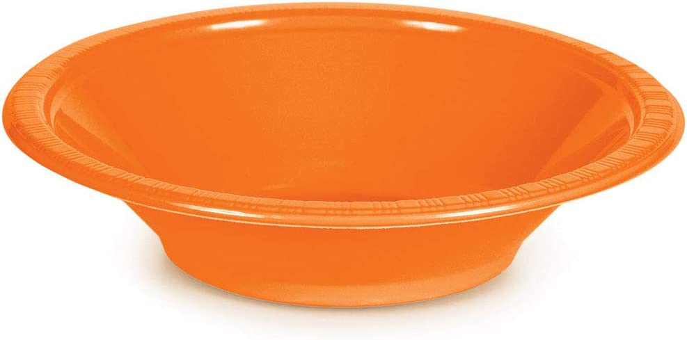 Creative Converting Touch of Color Plastic Bowls Party Supplies, 12oz, Sunkissed Orange, 20ct (28191051)