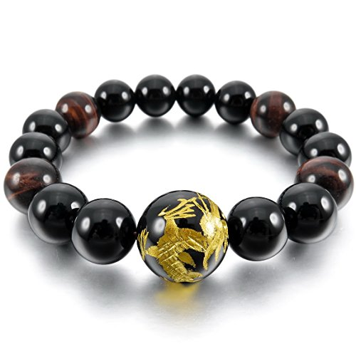 INBLUE Men,Womens 12mm 14mm Energy Bracelet Link Wrist Energy Stone Black Gold Tone Dragon Buddha Mala Bead