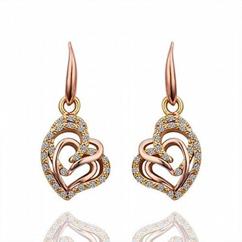 MOMO Eco Rose Heart Heart Earrings / Acier Inoxydable / Anti-allergique / Silver Shine / Diamond / Zirconia