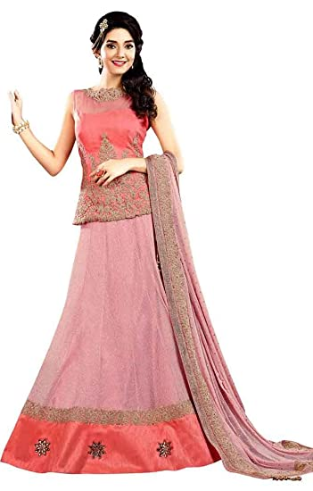 bdcd47f741e11a INMONARCH Pink Georgette & Raw Silk Lehenga Choli LSR7002SC Stitched Pink