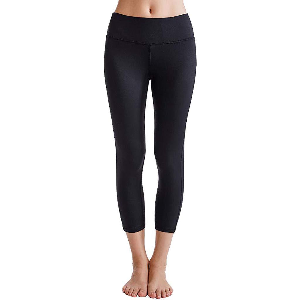 Womens Yoga Pants,Selinora Ladies Fashion Cacual Yoga Capris Solid Power Flex Running Workout Leggings Calf-Length Pants