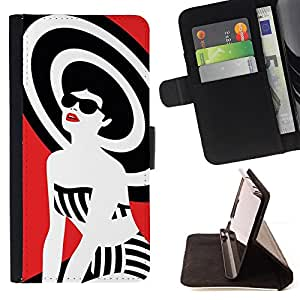 Jordan Colourful Shop - lady white black red style For Apple Iphone 6 PLUS 5.5 - Leather Case Absorci???¡¯???€????€????????&cen