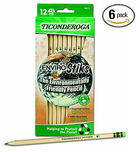 Dixon Ticonderoga EnviroStiks Natural Wood #2 Pencils, 6 Boxes of 12 (96212)