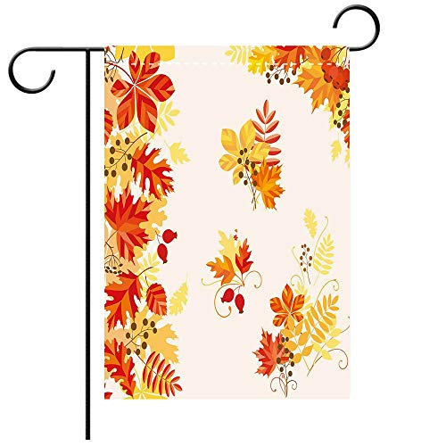 Double Sided Premium Garden Flag Fall Autumn Themed Pattern Chestnut Oak Maple Leaves and Berries Corner Design Elements Multicolor Decorative Deck, patio, Porch, Balcony Backyard, Garden or Lawn