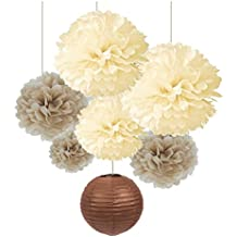SUNBEAUTY Pack of 7 Cream Tan Color Tissue Paper Pom Poms Brown Paper Lanterns for Party Wedding Birthday Decorations