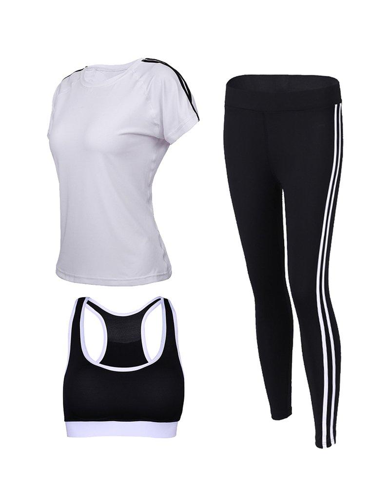 Cosstars Mujeres 3Piezas Conjuntos Sportswear Disfraces de Deporte Gym Yoga Athletisme Fitness Jogging Chándal (Sujetador Camiseta pantalón)