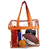 EliteBags Deluxe Clear Tote Bag w/Zipper, NFL Stadium Approved Security Bag, 12x12x6, Clear Vinyl, Shoulder Straps, Heavy Duty (Orange)
