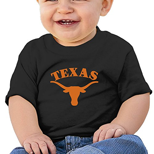 Short Texas T-shirt Longhorns Sleeve - Jonesseller Babys Boy's & Girl's Texas Longhorns Funniest T Shirts Size 12 Months Black