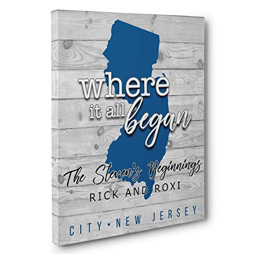 Personalized Where it all Began CANVAS Wall Art Anniversary Love Wedding Gift - state of New Jersey