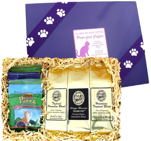 Kona Hawaiian Coffee Gift for Everyone Who Loves Coffee and Cats, Kona Hawaiian Coffee and Treats for Kitty! Brews 36 Cups, for Christmas, Birthdays and All Occasions