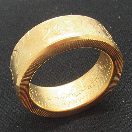 - suiwoyoujooact Coin Ring Handmade from Mexico 50 Peso Coin 1943