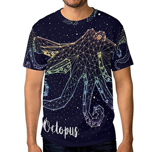 shirt Octopus Homme Multicolore Courtes Du Manches Ras Constellation Alaza Décontracté Cou T Ww1dqYw5