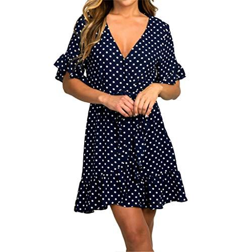 (Mlide Women's Short Sleeve Pleated Swing Dress Knee Length Dot Printed V-Neck Bandage Butterfly Loose Hem Dress,Navy XL)