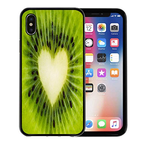 (Semtomn Phone Case for Apple iPhone Xs case,Green Fruit Kiwi Heart in The Form of Seeds Using for Valentine Day Beautiful Whole Screen for iPhone X Case,Rubber Border Protective Case,Black)