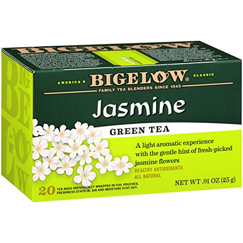 Bigelow Green Tea with Jasmine Caffeinated Individual Green Tea Bags, for Hot Tea or Iced Tea, 20 Count (Pack of 6), 120 Tea Bags Total.