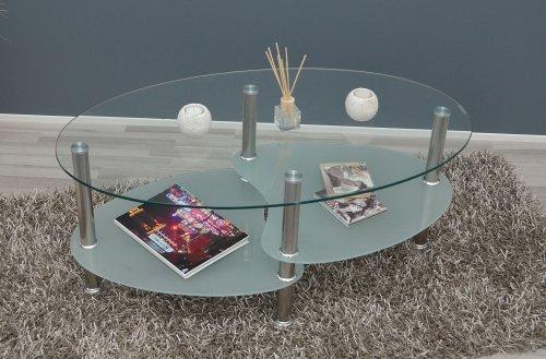 Glastisch Beistelltisch Couchtisch Oval Edelstahl mit 8 mm ESG ...