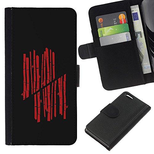 GIFT CHOICE / Smartphone Leather Wallet Case Housse coque Couvercle de protection Étui Couverture pour Apple Iphone 5C // Red Bamboo //