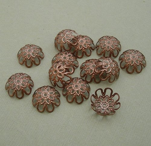 Copper Bead Caps Antique - BeadsTreasure 100pcs -Antique Copper Plated Bead Caps 12mm Jewelry Making Supply.