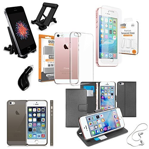 iPhone 5 / 5S / SE Accessory Pack - Orzly Essential Case & Accessory Bundle Pack for Apple iPhone SE (2016). Also fits iPhone 5S (2013), & Original iPhone 5 (2012)