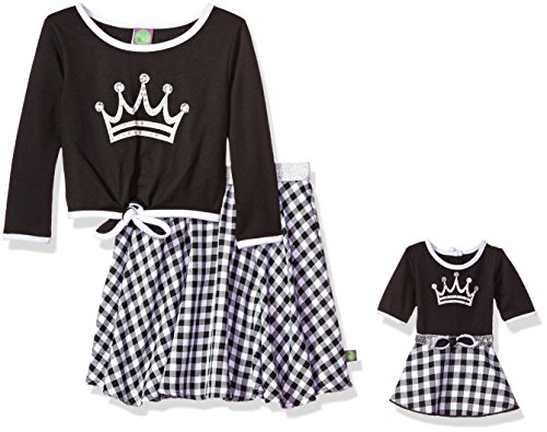 Dollie & Me Little Girls' Crown Tie Front Top and Skirt with Matching Doll Outfit, Black/White, 4 -