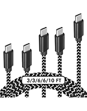 USB C Cable, 【5-Pack】 3A Fast Charge Various Lengths Durable Nylon Braided USB A to USB C Charging Cable Compatible with Samsung Galaxy S20 S10 S9 Plus/Note 20 10 9, LG G5/G6/V20, HTC, Moto, Sony and Other USB C Devices (Black & White)