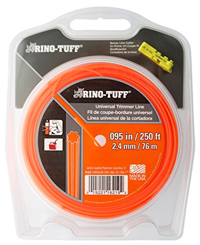 "Rino Tuff 16219A .095"" x 250' Universal Medium Duty Gear Shaped Trimming Line for Residential Trimming and Edging w/ Included Line Cutter by Rino-Tuff"