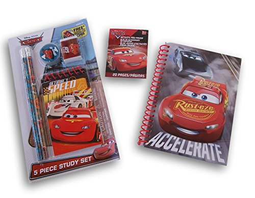 Disney Cars Themed Gift Set - Notebook, Mini Activity Pad, and 5 Piece Study Set