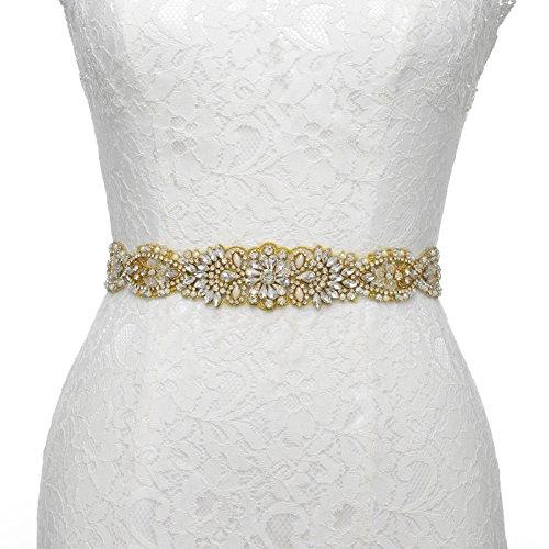 Sash Any Color (SWEETV Luxury Rhinestone Belt Applique Beaded Bridal Sash Patches Wedding Dress Accessories, Gold)