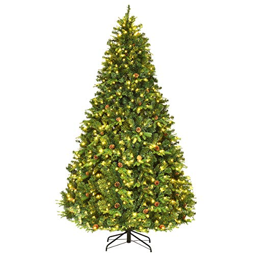 Goplus 8Ft Pre-Lit Artificial Christmas Tree Premium Spruce Hinged Tree w/ 600 LED Lights & Pine Cones