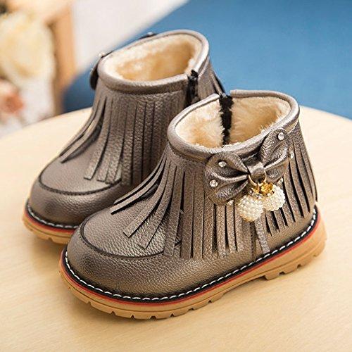 La vogue Mädchen Warm Schuhe mit Quaste Wildleder Lederschuhe mit Schleife Silber