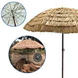 9.5' Easygo Thatch Patio Tiki Umbrella – Tropical Palapa Raffia Tiki Hut Hawaiian Hula Beach Umbrella with UV Protection. Great for BBQ area, Backyard Patio and Pool Areas - Largest Size Available