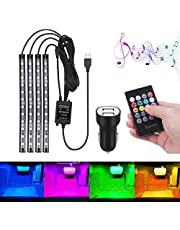 Car interior light, Bawoo 48LED Waterproof USB Wireless Atmosphere Footwell Led Strips light, 4 Music Modes and 8 Light Colours, with Remote Control+(Free Cigarette Lighter)