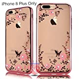 KC New Soft Silicone Transparent Auora Flower Case with Sparkle Crystals Back Cover for iPhone 8 Plus - Rose Gold + Pink