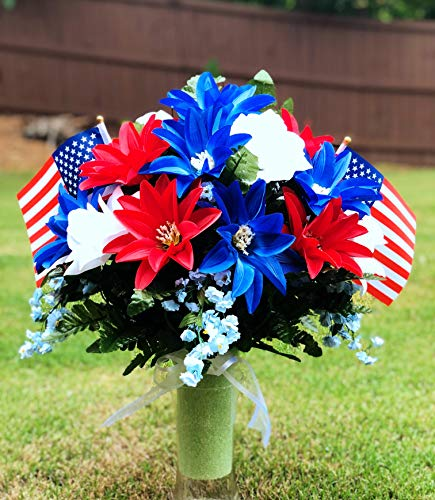 starbouquets Patriotic Cemetery Vase Arrangement ~ Beautiful Red Navy Blue Dahlias and White Rose Silk Flowers and US Flag ~ for a 3 Inch Vase - Fathers Day Memorial Day ~ Cemetery vase Flower