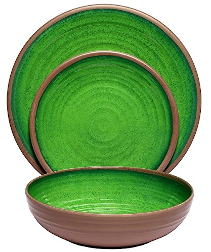Melange 612409791221 12-Piece 100% (Clay Collection ) | Shatter-Proof and Chip-Resistant Melamine Plates and Bowls | Color: Green | Dinner Plate, Salad Plate & Soup Bowl (4 Each) -
