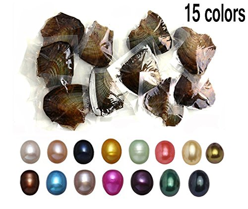 JBENG 15PCS 2017 Fashion 7-8mm Oysters with Large Oval Pearl inside Birthday Gifts (Single Pendant Mounting)