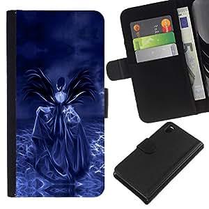 // PHONE CASE GIFT // Moda Estuche Funda de Cuero Billetera Tarjeta de crédito dinero bolsa Cubierta de proteccion Caso Sony Xperia Z3 D6603 / Purple Skull /