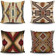 SVITFAMLI Set of 4 Throw Pillow Covers Tribal Western Geometric Burgundy Green Endless Native Designs Southwes