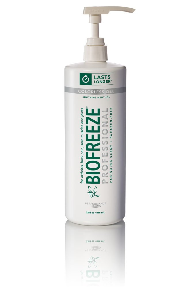 Biofreeze Professional Pain Relieving Gel, Topical Analgesic for Enhanced Relief of Arthritis, Muscle, Joint Pain, NSAID Free Pain Reliever Cream, 32 oz with Pump, Colorless Formula, 5% Menthol 13431