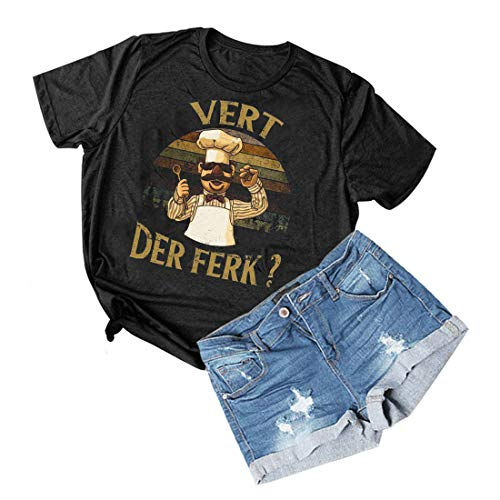 697c6b208 Women Vert Der Ferk T-Shirt Vintage Short Sleeve Swedish Chef Graphics Tee  Tops (