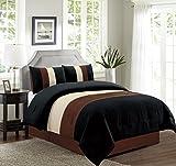 4 Piece FULL Size (Double Bed) BROWN / BLACK / BEIGE Pin Tuck Stripe Regatta Goose Down Alternative Comforter set 88'' X 86'' Bedding